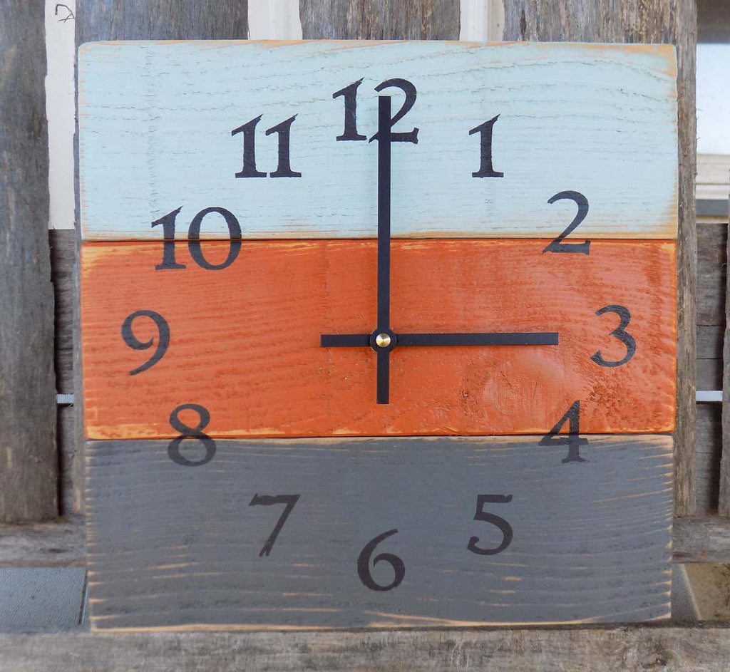 Primitive Pallet Wood Clock, Rustic Blue Orange and Grey Square Clock, Wood Wall Clock, Square Pallet Clock, Rustic Primitive Home Decor