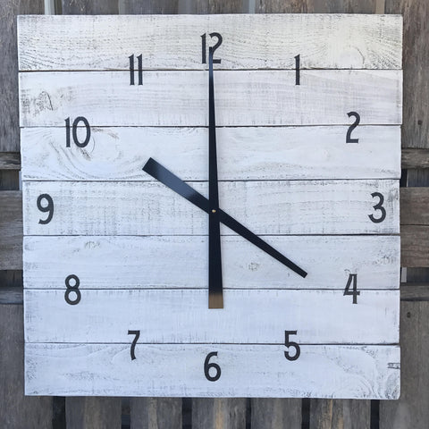 Large Farmhouse Clock, Rustic White Square Wall Clock, Primitive Wood Wall Clock, Large Pallet Clock, Farmhouse Decor, Primitive home decor
