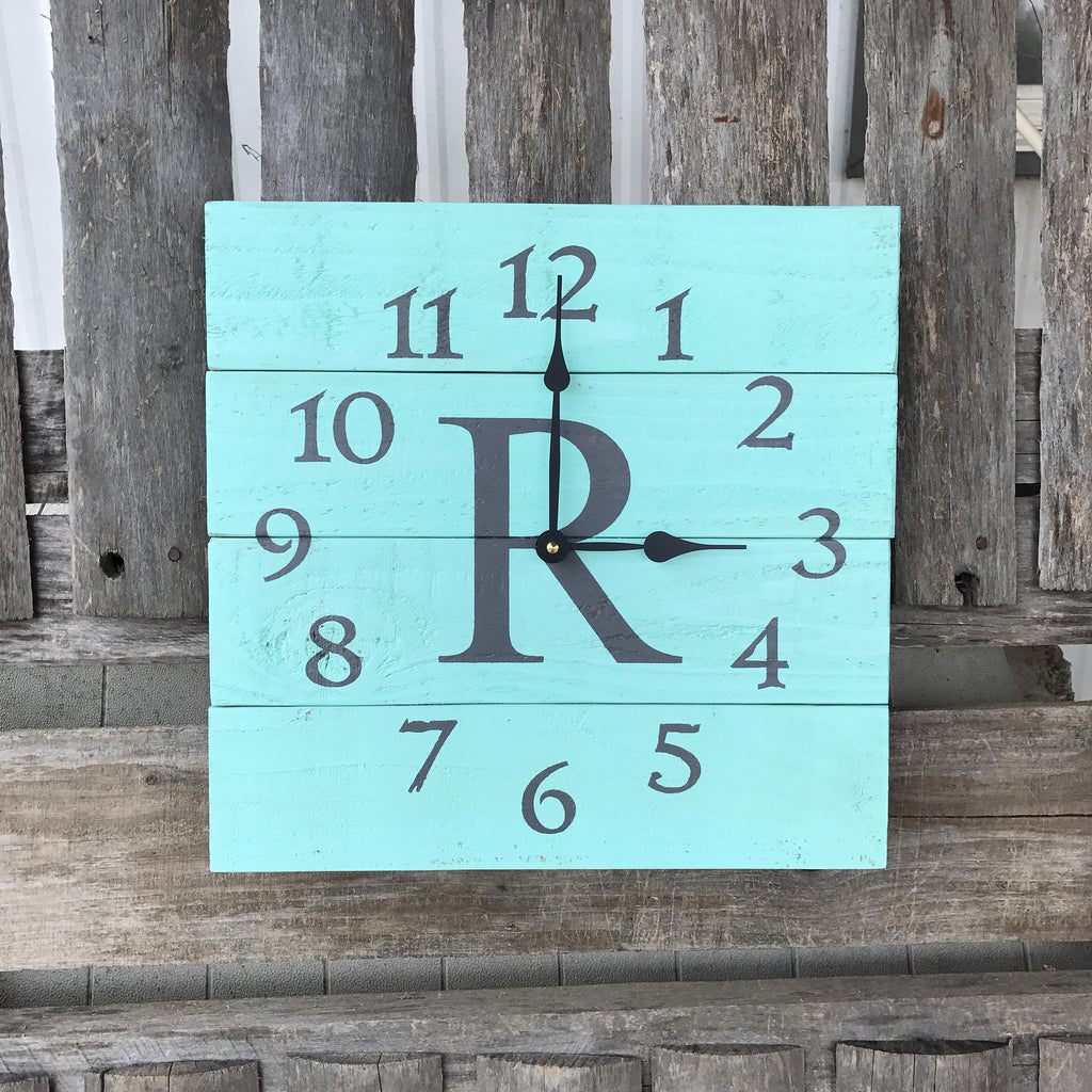 Coastal and beach themed wood wall clocks cedar creek designs co aqua and grey monogrammed pallet wood wall clock mint and grey decor personalized wall amipublicfo Images