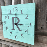 Aqua and grey monogrammed pallet wood wall clock, mint and grey Decor, personalized wall clock, primitive wood clock, Beach Home Decor,