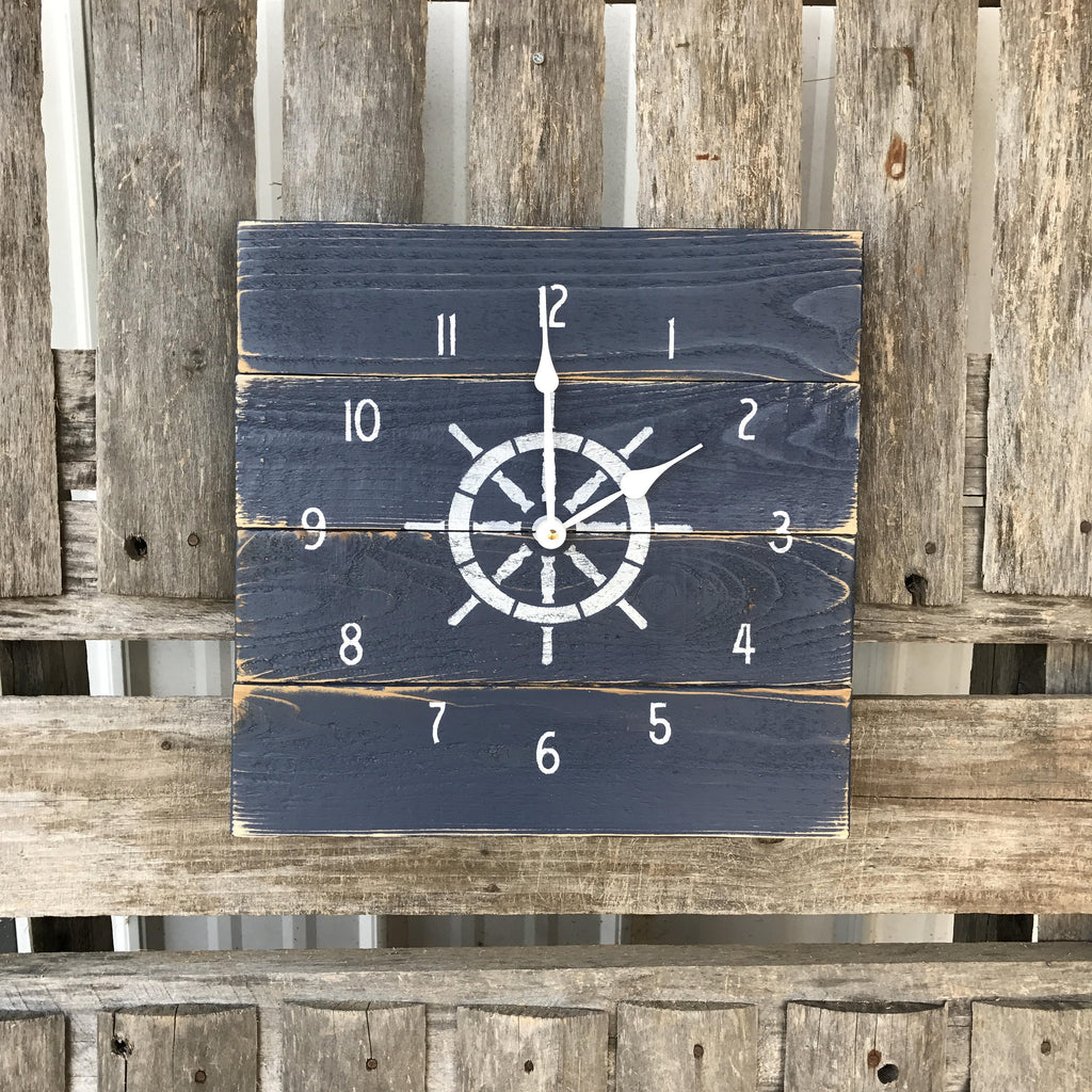 Nautical planked clock ships wheel clock rustic beach clock nautical planked clock ships wheel clock rustic beach clock primitive clock navy amipublicfo Gallery