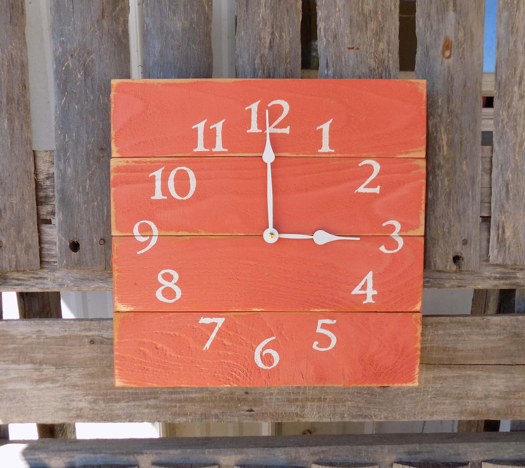 rustic coral pallet wood wall clock primitive distressed square