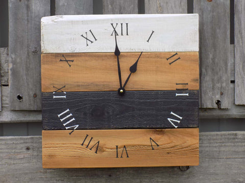 Black, White, and Nautral Pallet Clock - The Pallet Doctor