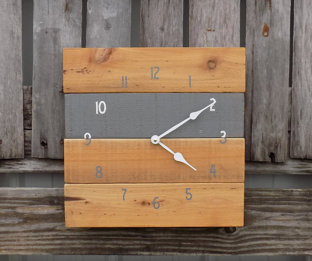 Grey and Natural Square Pallet Style Clock - The Pallet Doctor