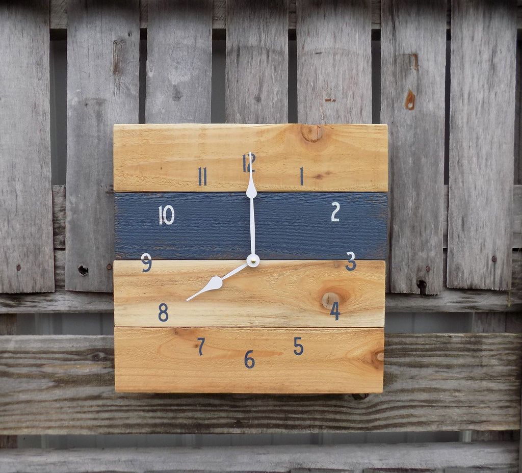 Navy and Natural Pallet Style Clock - The Pallet Doctor