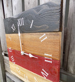 Primitive Black, Red, and Natural Pallet Clock - The Pallet Doctor