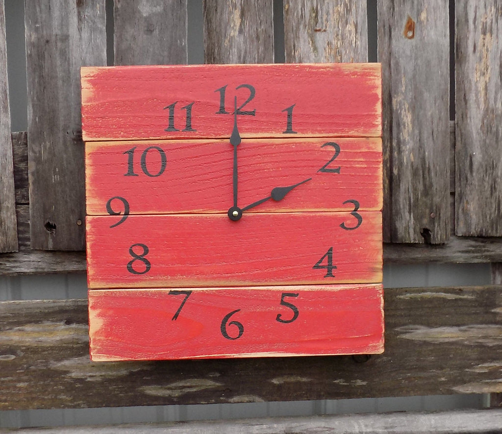 Rustic Red and Black Pallet Clock - The Pallet Doctor