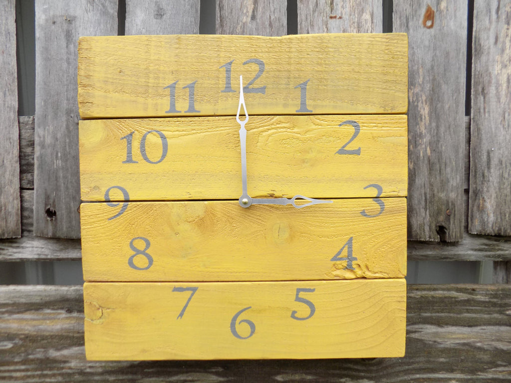 Yellow Pallet Style Clock - The Pallet Doctor