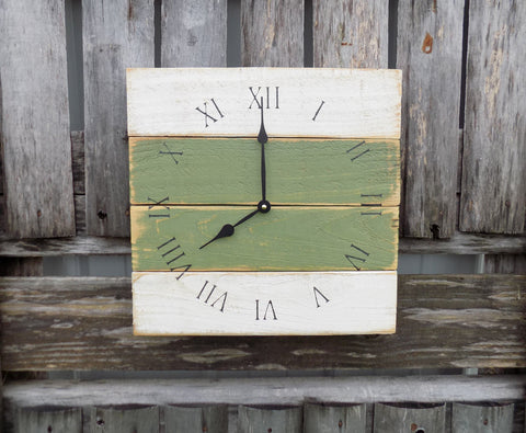 Primitive Green and White Clock - The Pallet Doctor