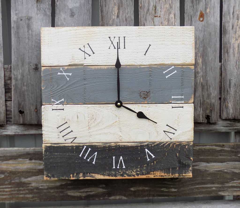 Rustic Pallet Clock, Primitive Wood Wall Clock, Black White and Grey Clock, Industrial Clock, Square Wood Clock, Rustic Beach Clock