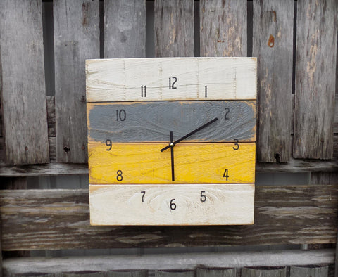 Rustic Yellow Grey and White Pallet Clock - The Pallet Doctor