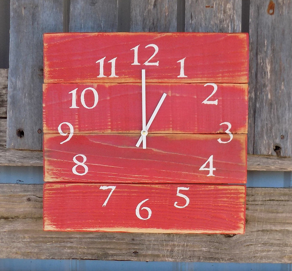 Primitive Red Pallet Clock - The Pallet Doctor