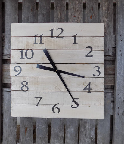 Large White Pallet Style Clock - The Pallet Doctor