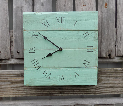 Sea Foam Green Pallet Clock - The Pallet Doctor