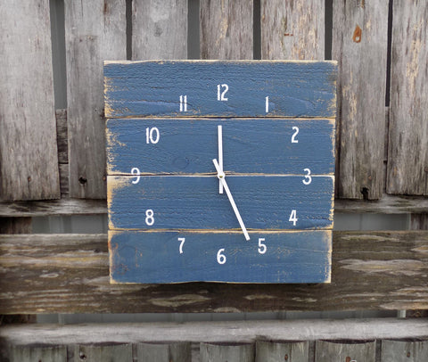 Rustic Dark Blue Nautical Clock - The Pallet Doctor