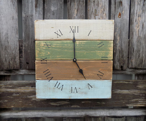 Multicolor Rustic Beach Pallet Clock - The Pallet Doctor