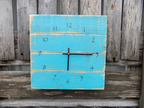 Turquoise Beach Decor Pallet Clock - The Pallet Doctor