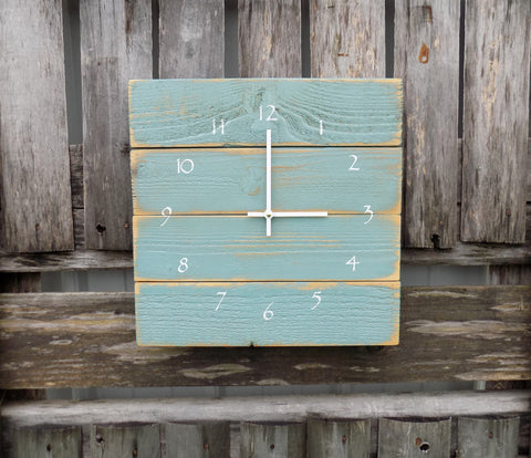 Muted Sea Foam Green Pallet Clock - The Pallet Doctor