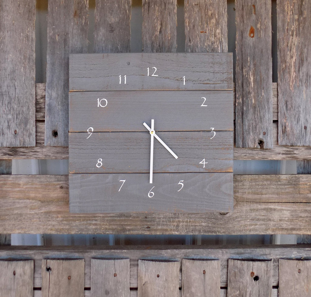 Rustic Grey Pallet Style Wood Wall Clock - The Pallet Doctor