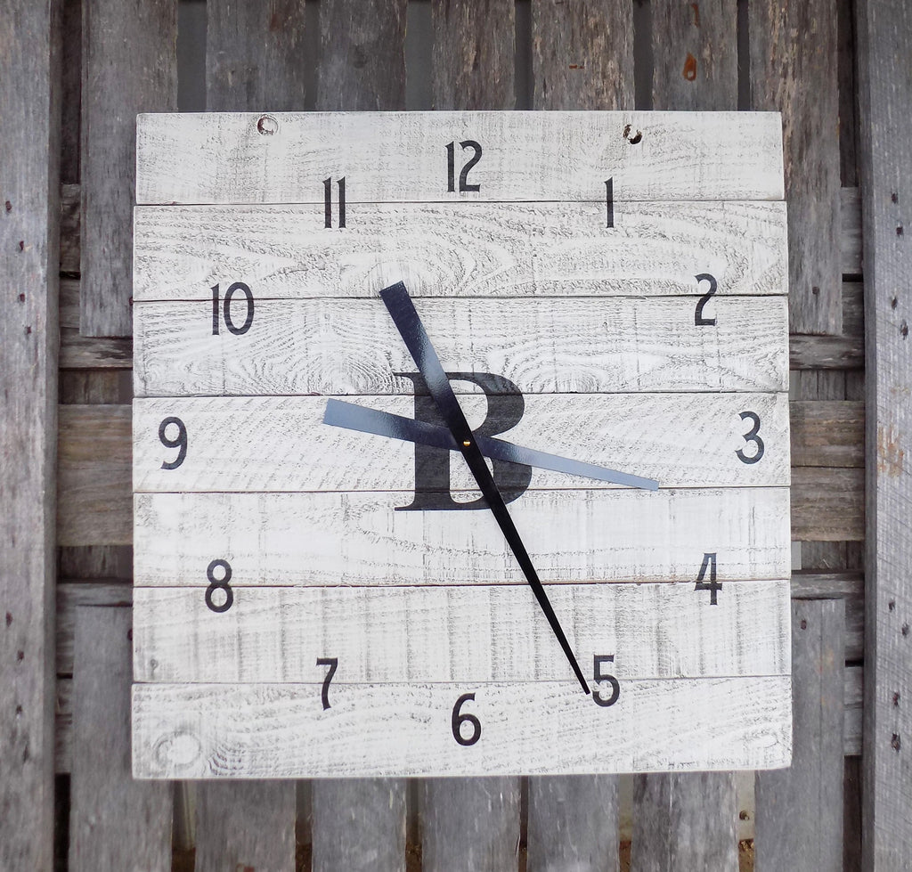 Large White Washed Monogrammed Pallet Clock - The Pallet Doctor