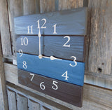 Grey, Blue, and Brown Square Wood Pallet Clock - The Pallet Doctor