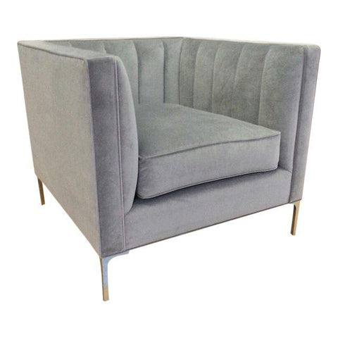 Brass Devereaux Chair, Slate Velvet