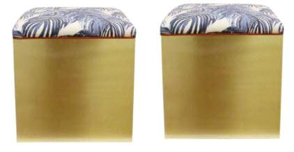 Pair, Kate Brass Ottomans