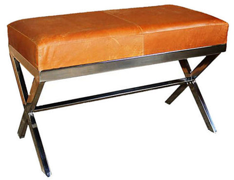 Medium Chrome X Bench, Vintage Leather