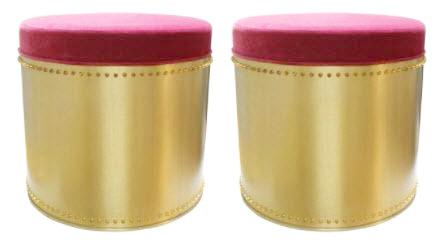 Pair, Brass Rivet Stools/ Fushia Velvet Tops
