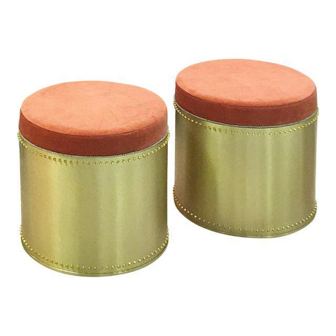 Brass Rivet Stools (Pair)