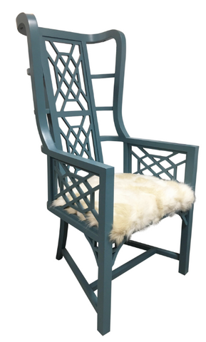 PAIR, Custom Kings Grant Chairs Teal/Faux Fur