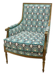 Phillip Chair, Turquoise/White Fabric