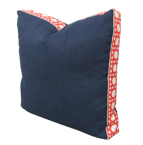 Lacefield for TBH - Navy/Coral Pillow