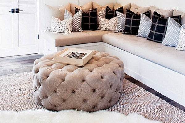 London Tufted Ottoman Round Taylor Burke Home