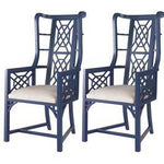 Pair Kings Grant Chairs, Navy with Ivory Fabric
