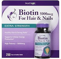 Natrol Biotin Extra Strength Dietary Supplement - 5000mcg /250 Ct. - RokBuy - Health personal care -