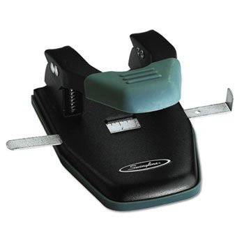 Swingline 28-Sheet Comfort Handle Steel Two-Hole Punch, Black - RokBuy - Office -