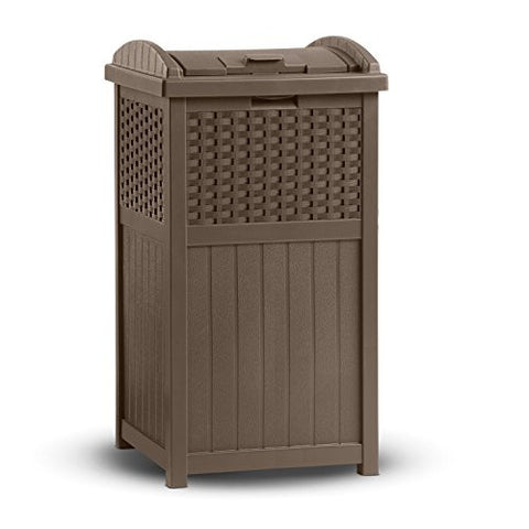 Suncast Wicker 30 Gallon Trash Hideaway - RokBuy - Patio and Outdoor -