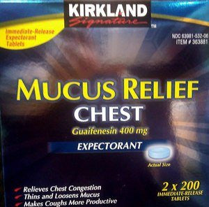 Cos11 Kirkland Signature Immediate Release Mucus Relief Chest Guaifenesin 400mg Expectorant - 2 X 200 Tablets (400 Tablets Total) - RokBuy - Grocery -