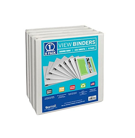 "Samsill Presentation 1"" Binder, 8 Pack - RokBuy - Office -"