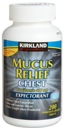 Kirkland Mucus Relief Chest Guaifenesin 400 mg Expectorant - 200 Immediate Release Tablets Per Bottle - RokBuy - Health -