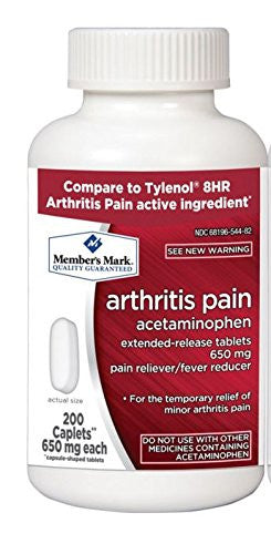 Member's Mark Arthritis Pain 650mg Acetaminophen Extended Release Pain Reliever Fever Reducer Caplets - RokBuy - Health - 1 bottle (200 caplets) - 1