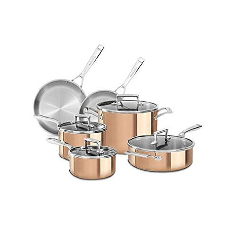 KitchenAid Tri-Ply Copper 10-Piece Cookware Set - RokBuy - Home -