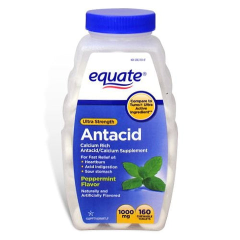Equate - Ultra Strength Antacid Tablets 1000 mg - 160 Chewable Tablets - RokBuy - Health -