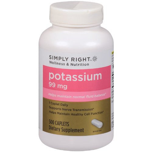 Member's Mark Formerly Simply Right Potassium Caplets - 500ct [595mg Potassium Gluconate] [99mg Potassium] - RokBuy - Health personal care -