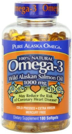 Pure Alaska Omega-3 Wild Alaskan Salmon Oil 1000mg Softgels 180-Count - RokBuy - Health -