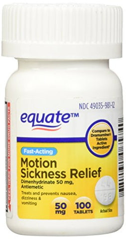 Equate - Motion Sickness 50 mg - 100 Tablets (Compare to Dramamine) - RokBuy - Health -