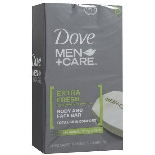 Dove Men+Care Body and Face Bar, Extra Fresh 4 Oz, 6 Bar (Pack of 2) - RokBuy - Beauty -