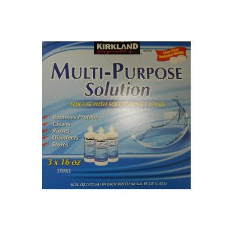 Kirkland Signature Multi-Purpose Sterile Solution for Any Soft Contact Lens, 3 Count - RokBuy - Personal care appliance -