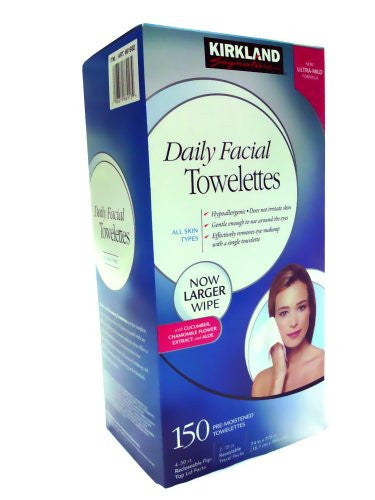 Kirkland Signature Hypoallergenic Daily Facial Towelettes 150 ct. - RokBuy - Beauty -